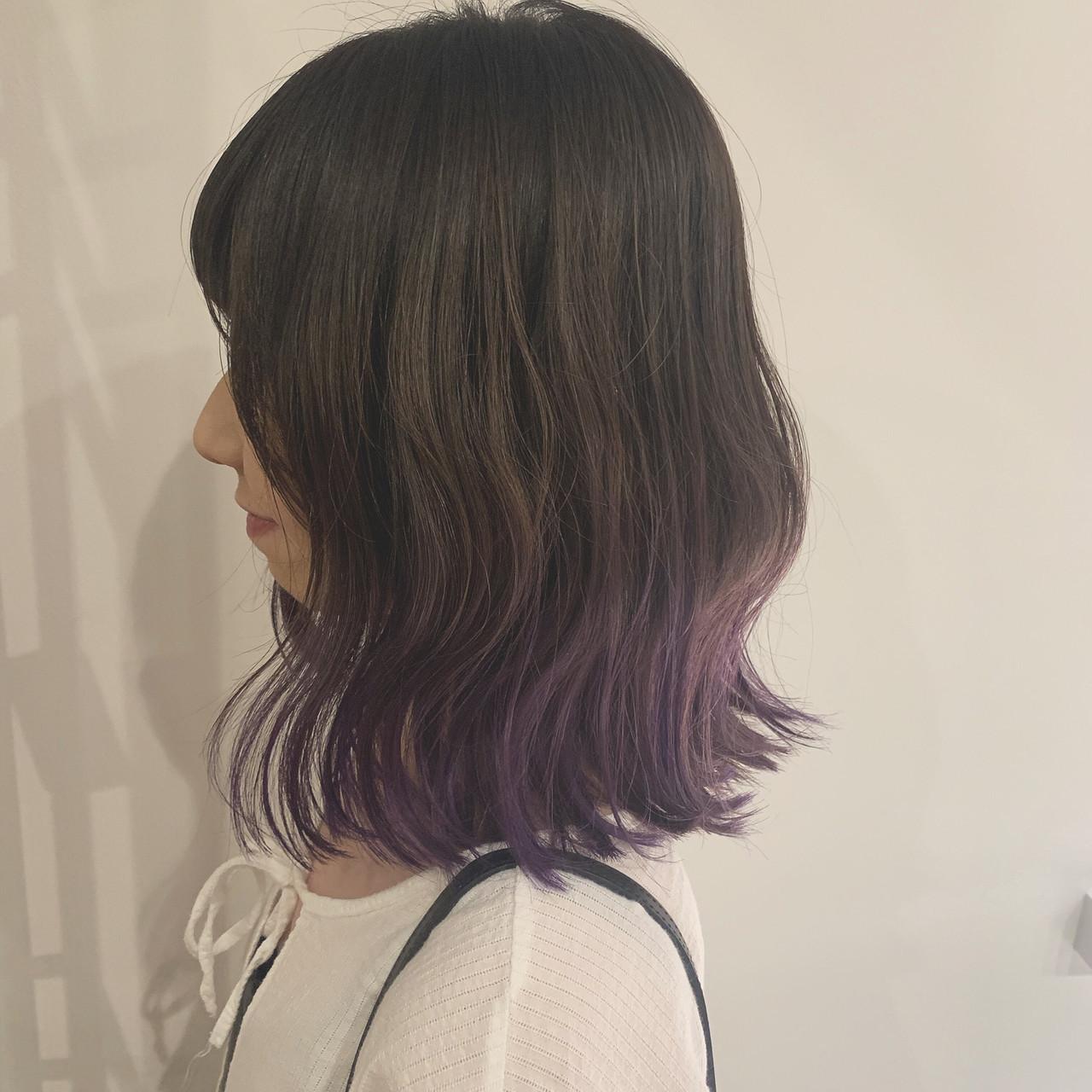 インナーカラー ミニボブ ミディアム 韓国ヘア ヘアスタイルや髪型の写真・画像