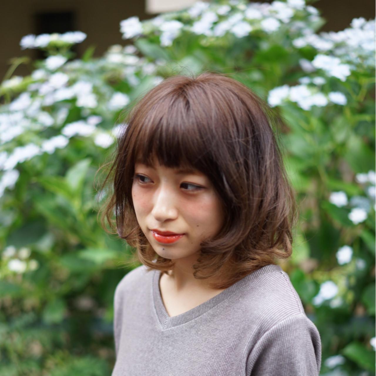 ゆるふわ ミディアム ストリート 前髪あり ヘアスタイルや髪型の写真・画像