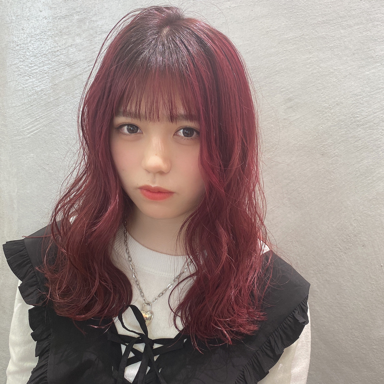 ガーリー セミロング 韓国ヘア ヘアスタイルや髪型の写真・画像