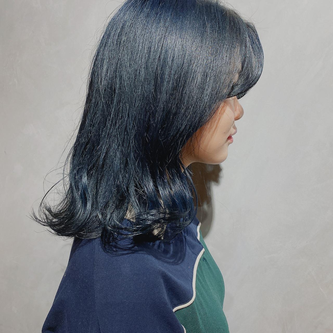 切りっぱなしボブ 韓国ヘア 外国人風カラー ミディアム ヘアスタイルや髪型の写真・画像