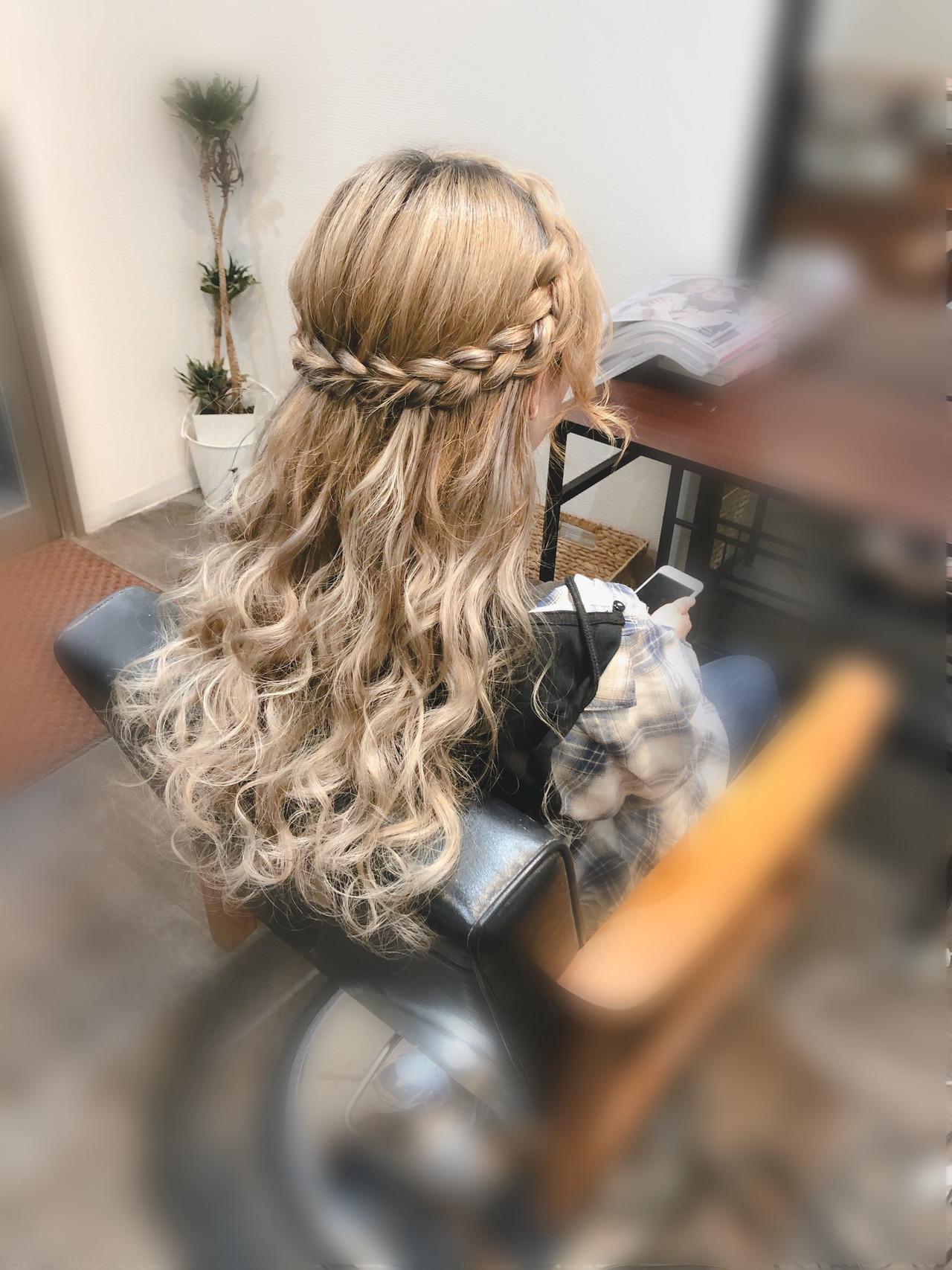 編みおろしヘア ヘアセット ロング ハーフアップ ヘアスタイルや髪型の写真・画像