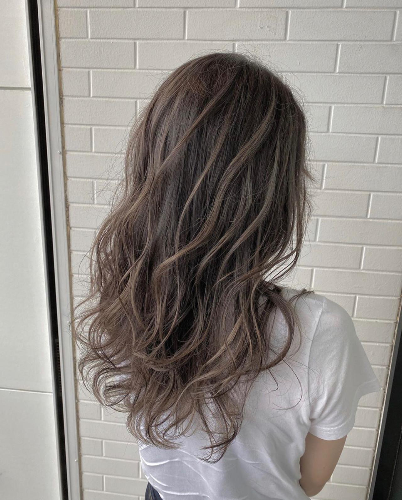 ハイライト ロング コントラストハイライト エレガント ヘアスタイルや髪型の写真・画像