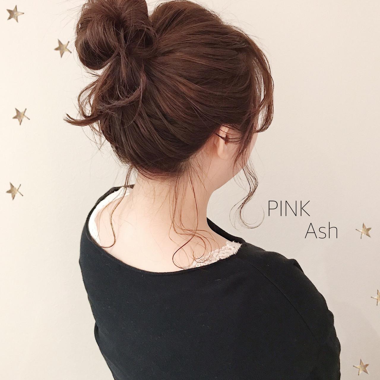 お団子アレンジ 簡単ヘアアレンジ ミディアム ナチュラル ヘアスタイルや髪型の写真・画像