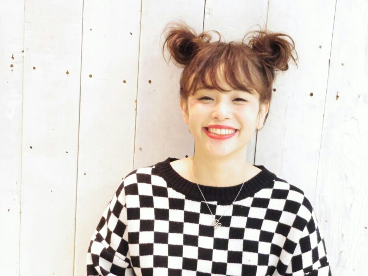 ミディアム ツインテール お団子 ヘアアレンジ ヘアスタイルや髪型の写真・画像