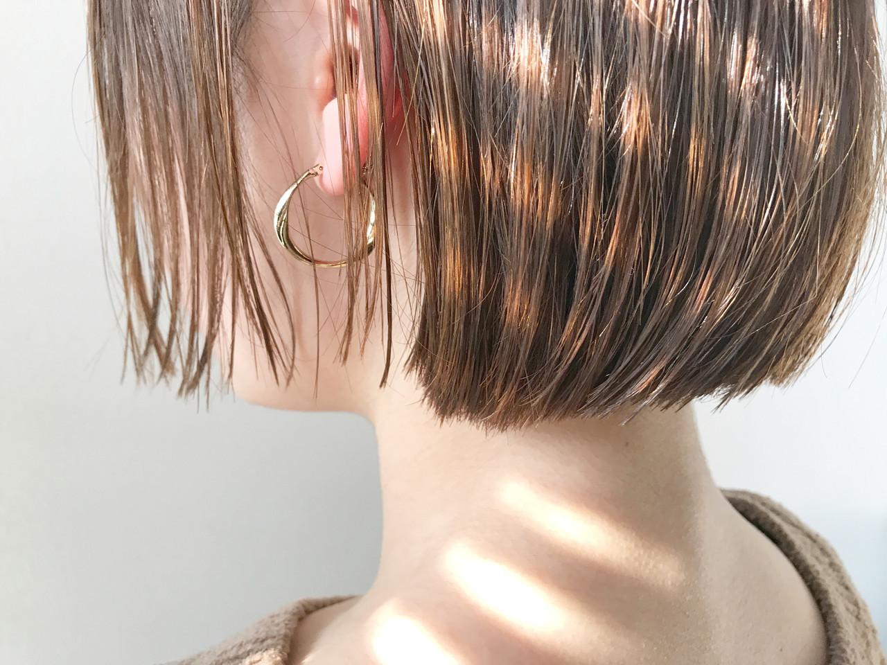 透明感 切りっぱなしボブ ショートボブ ボブ ヘアスタイルや髪型の写真・画像