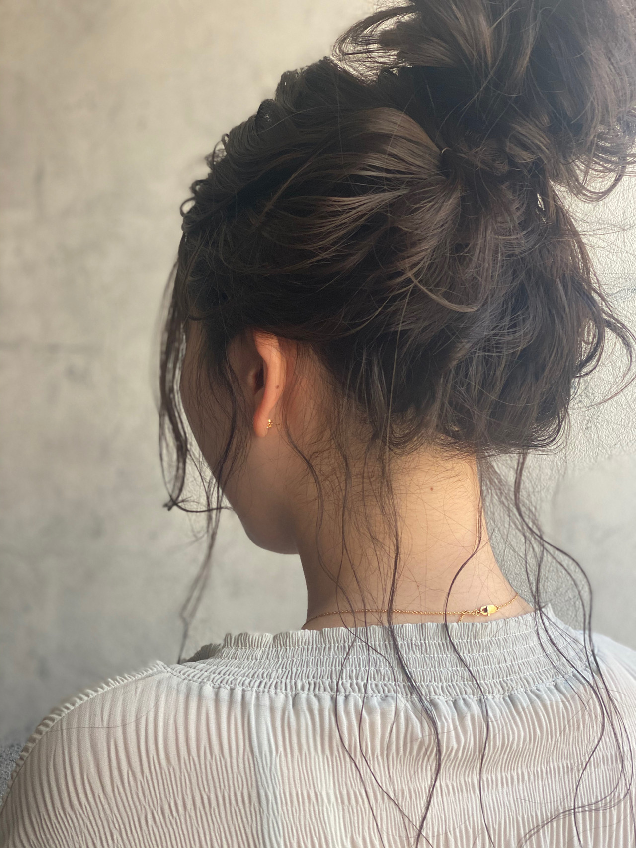 編みおろしヘア ナチュラル ロング お団子アレンジ ヘアスタイルや髪型の写真・画像