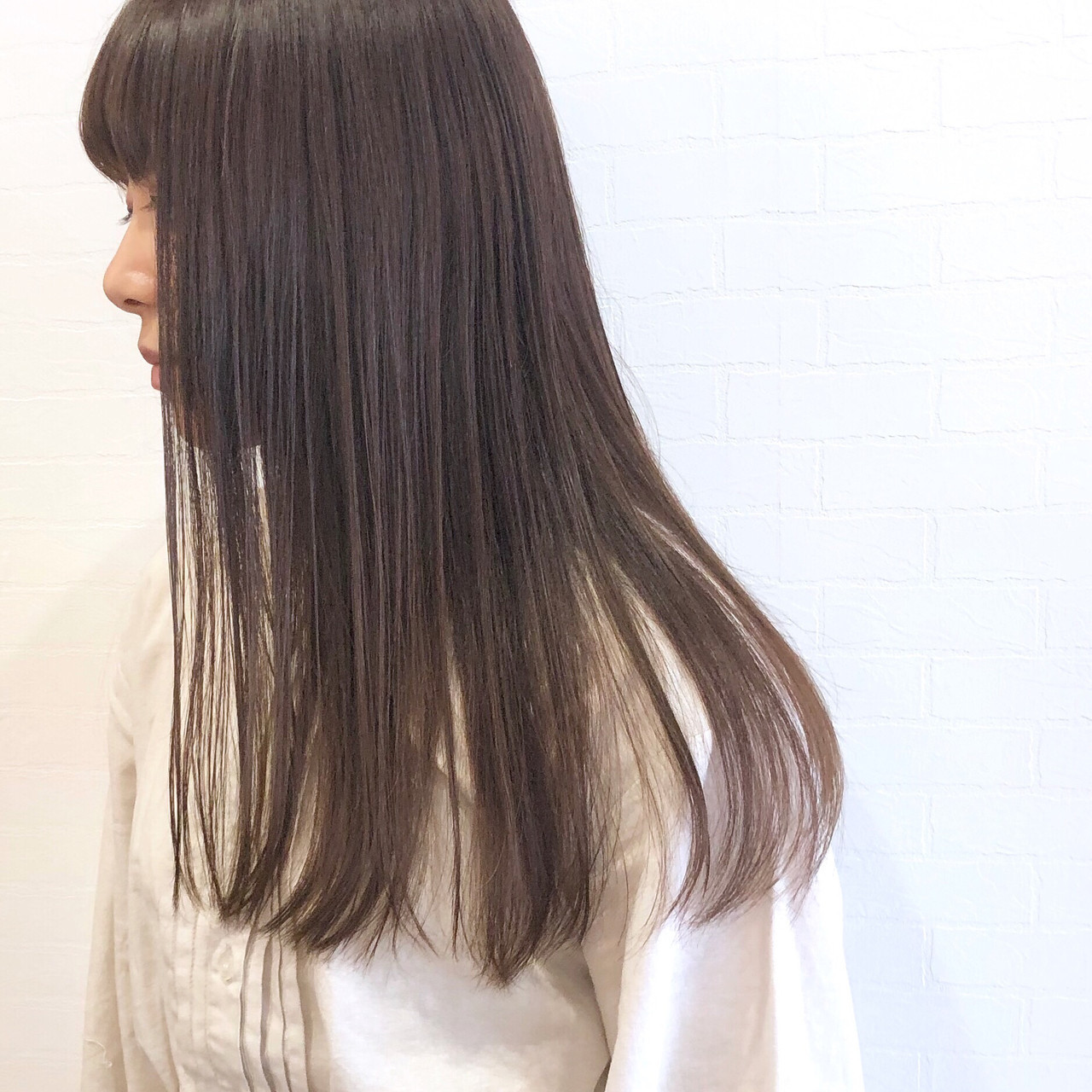 ラベンダー ラベンダーグレージュ ロング ベージュ ヘアスタイルや髪型の写真・画像