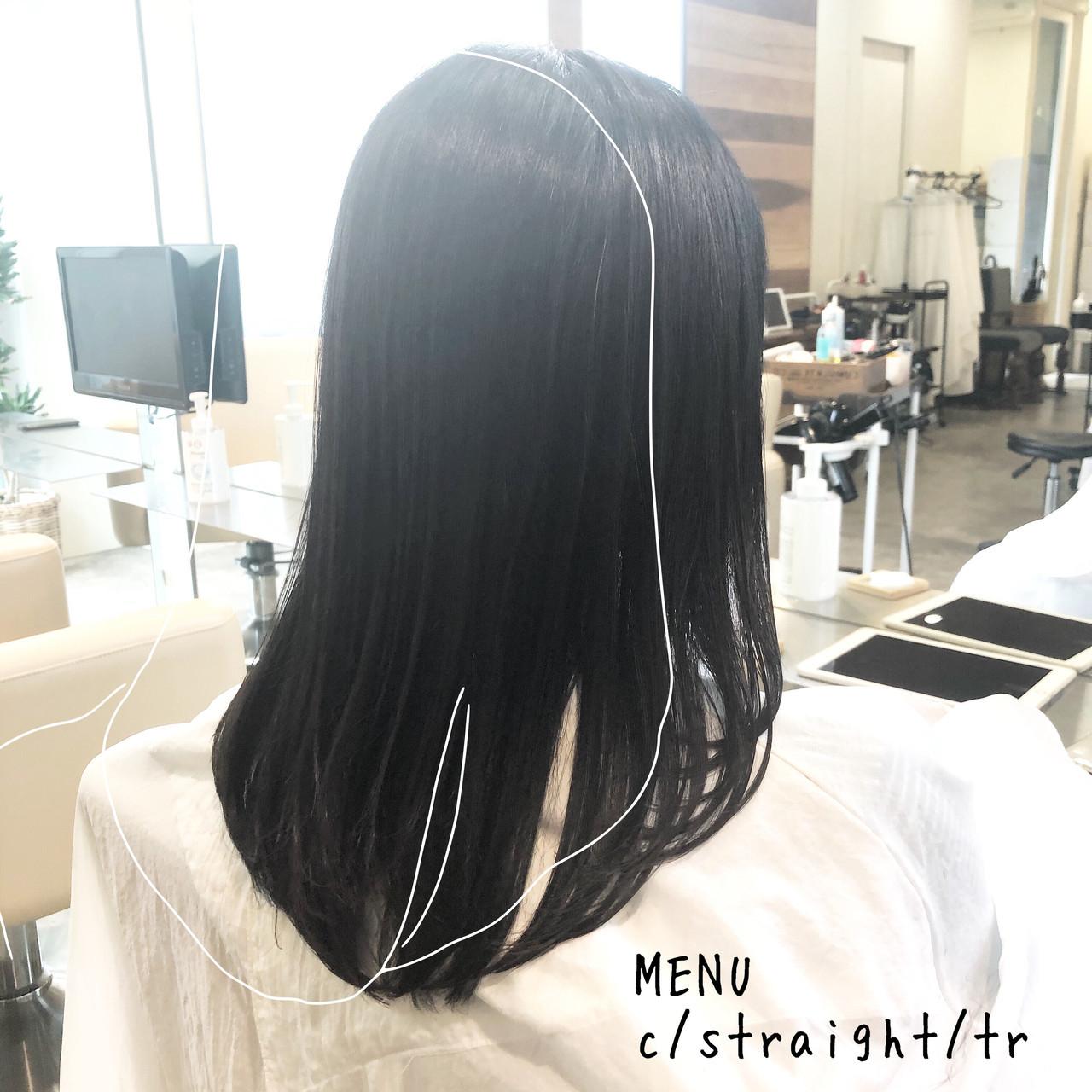 縮毛矯正 ストレート セミロング グレージュ ヘアスタイルや髪型の写真・画像