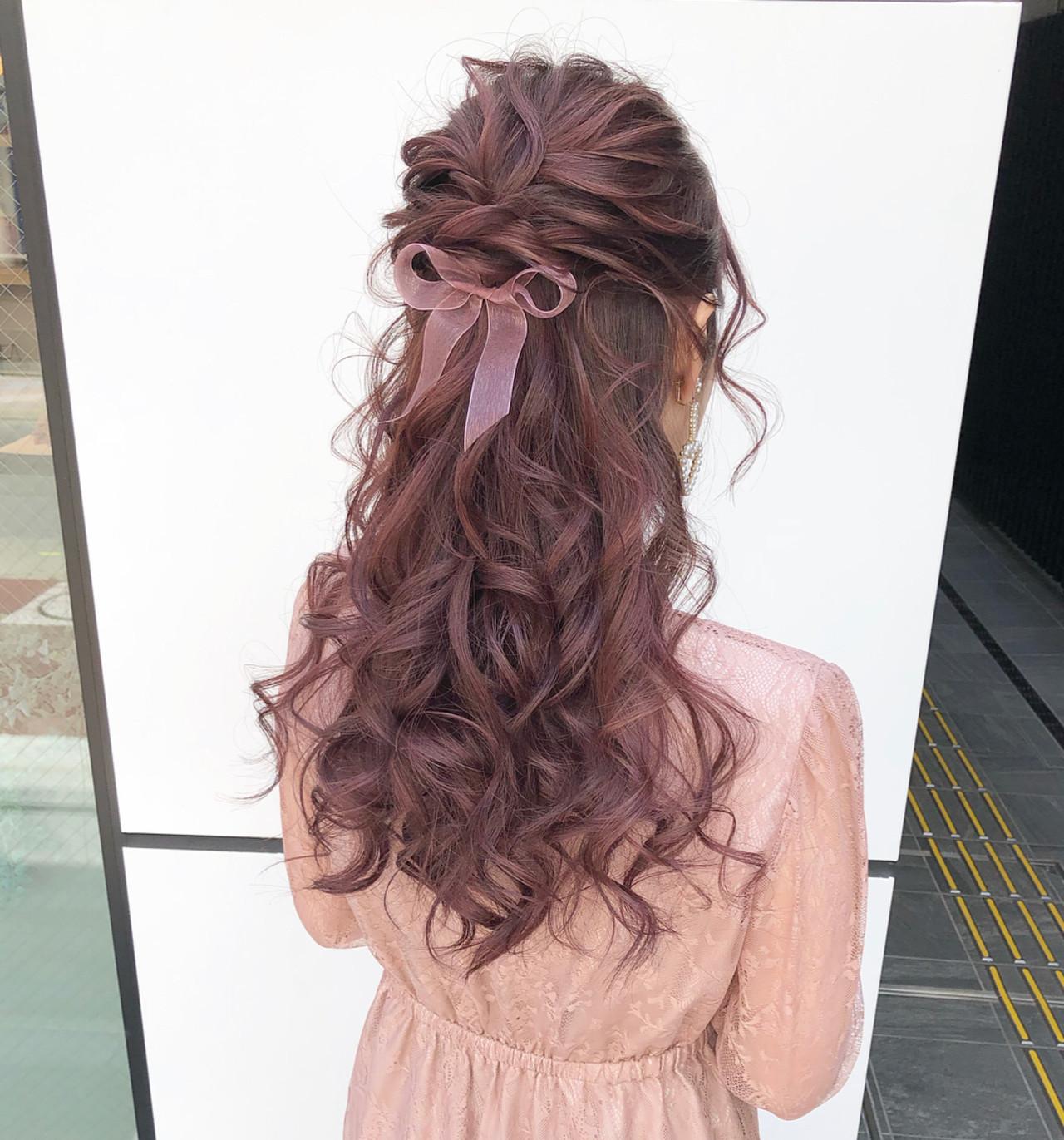 ピンク 大人可愛い ヘアアレンジ ハーフアップ ヘアスタイルや髪型の写真・画像