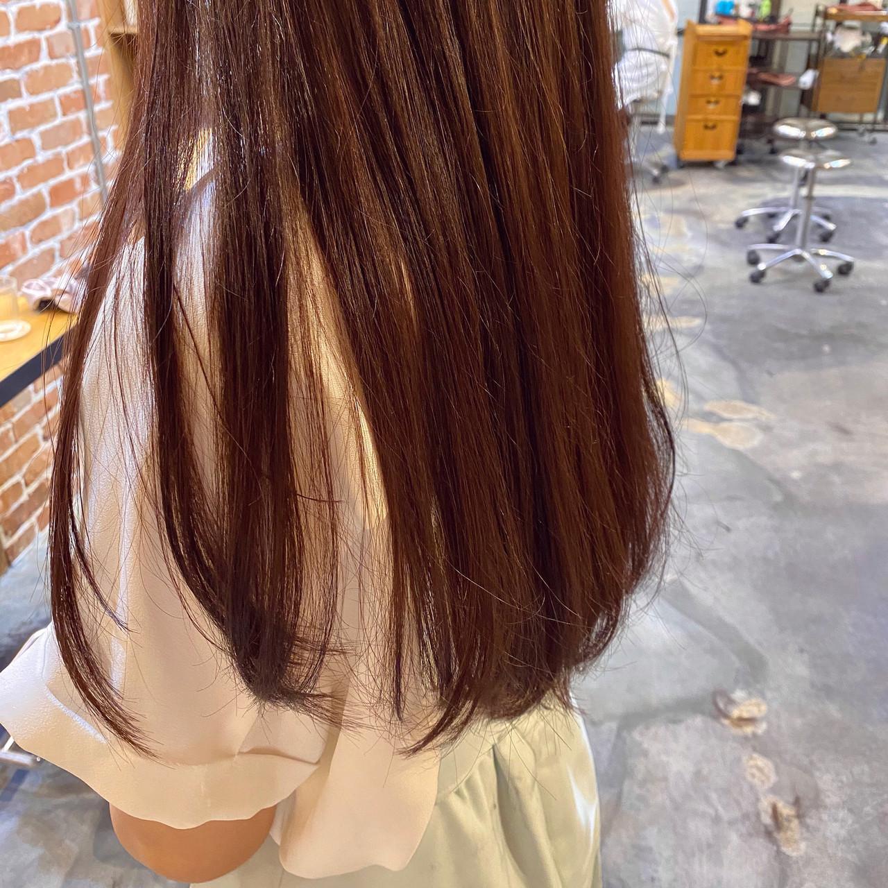ブリーチなし ロング ピンクアッシュ ピンクベージュ ヘアスタイルや髪型の写真・画像