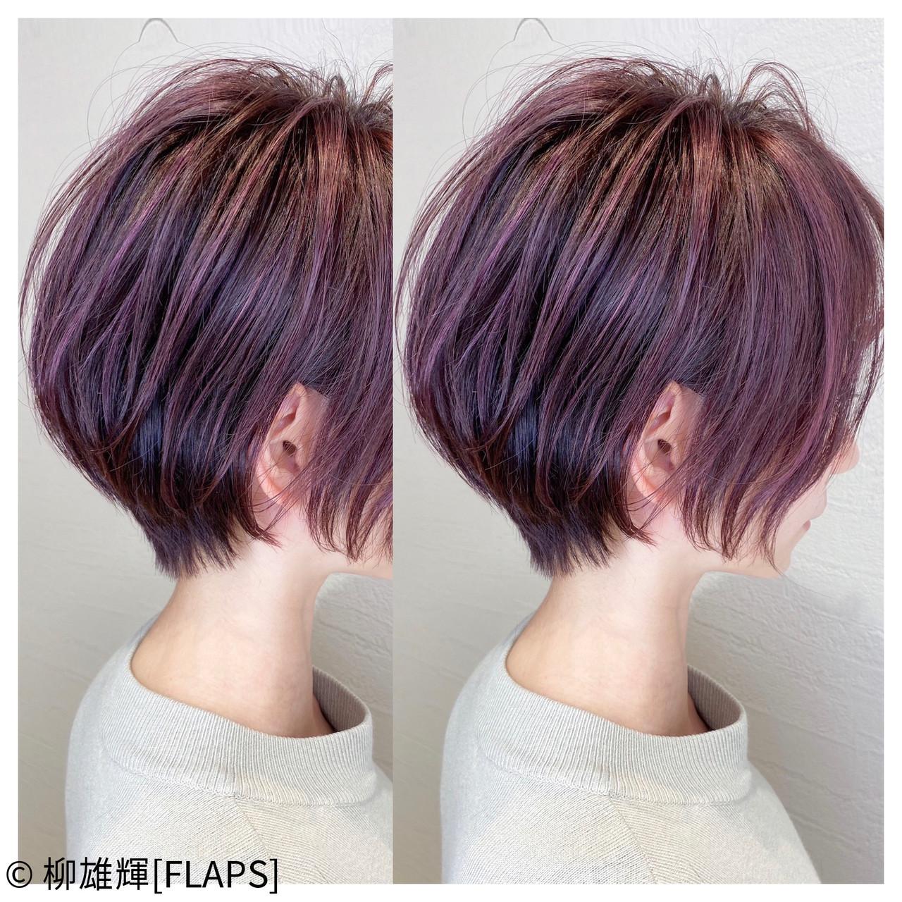 ショートヘア パープルカラー 丸みショート ストリート ヘアスタイルや髪型の写真・画像