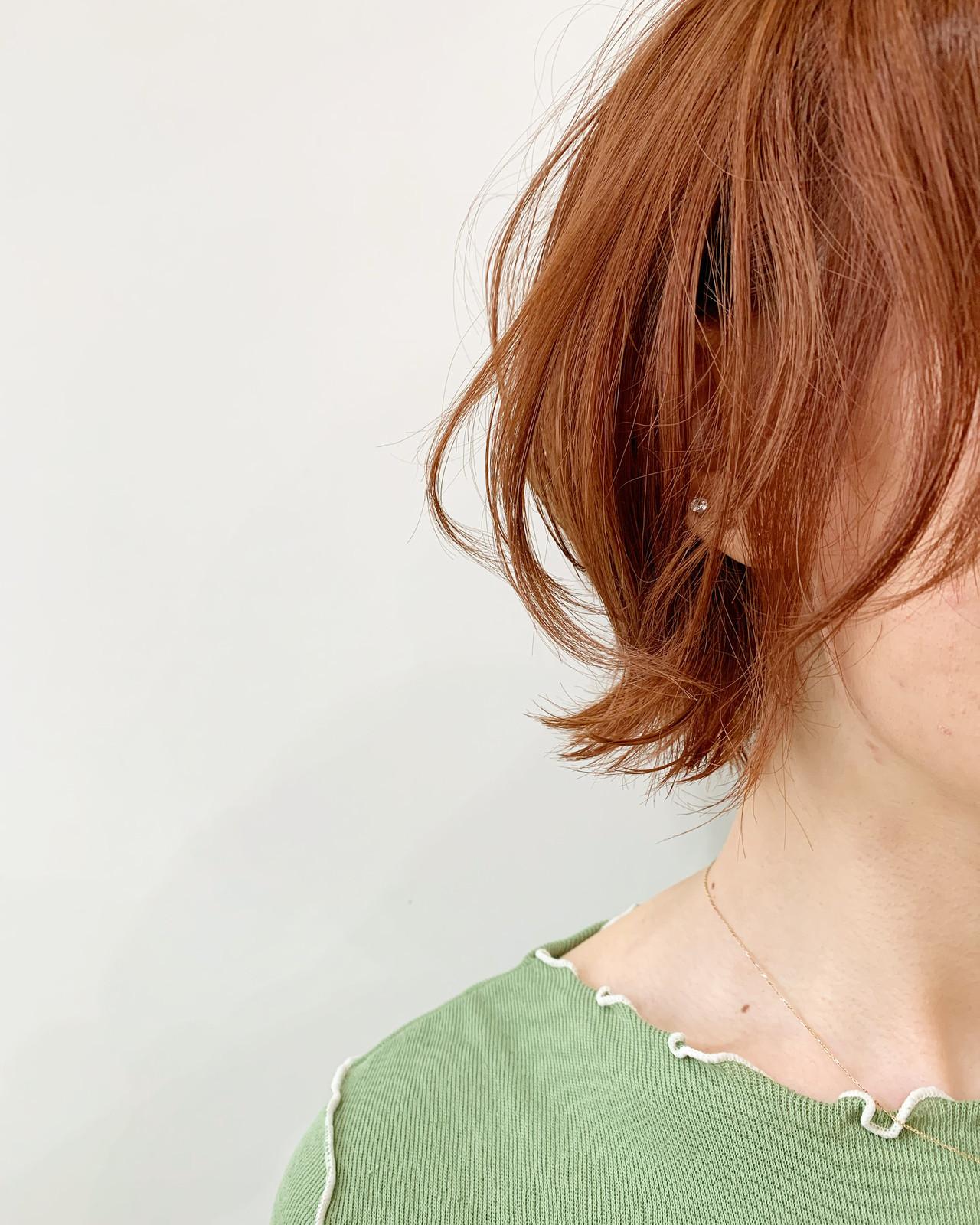 ナチュラル ウルフレイヤー アプリコットオレンジ オレンジブラウン ヘアスタイルや髪型の写真・画像