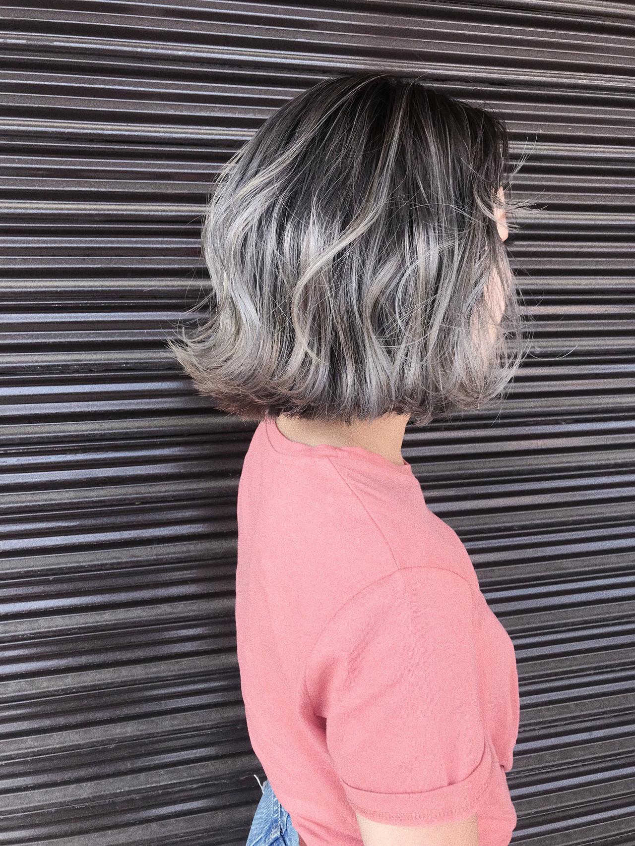 ラベンダーアッシュ モード ボブ プラチナブロンド ヘアスタイルや髪型の写真・画像