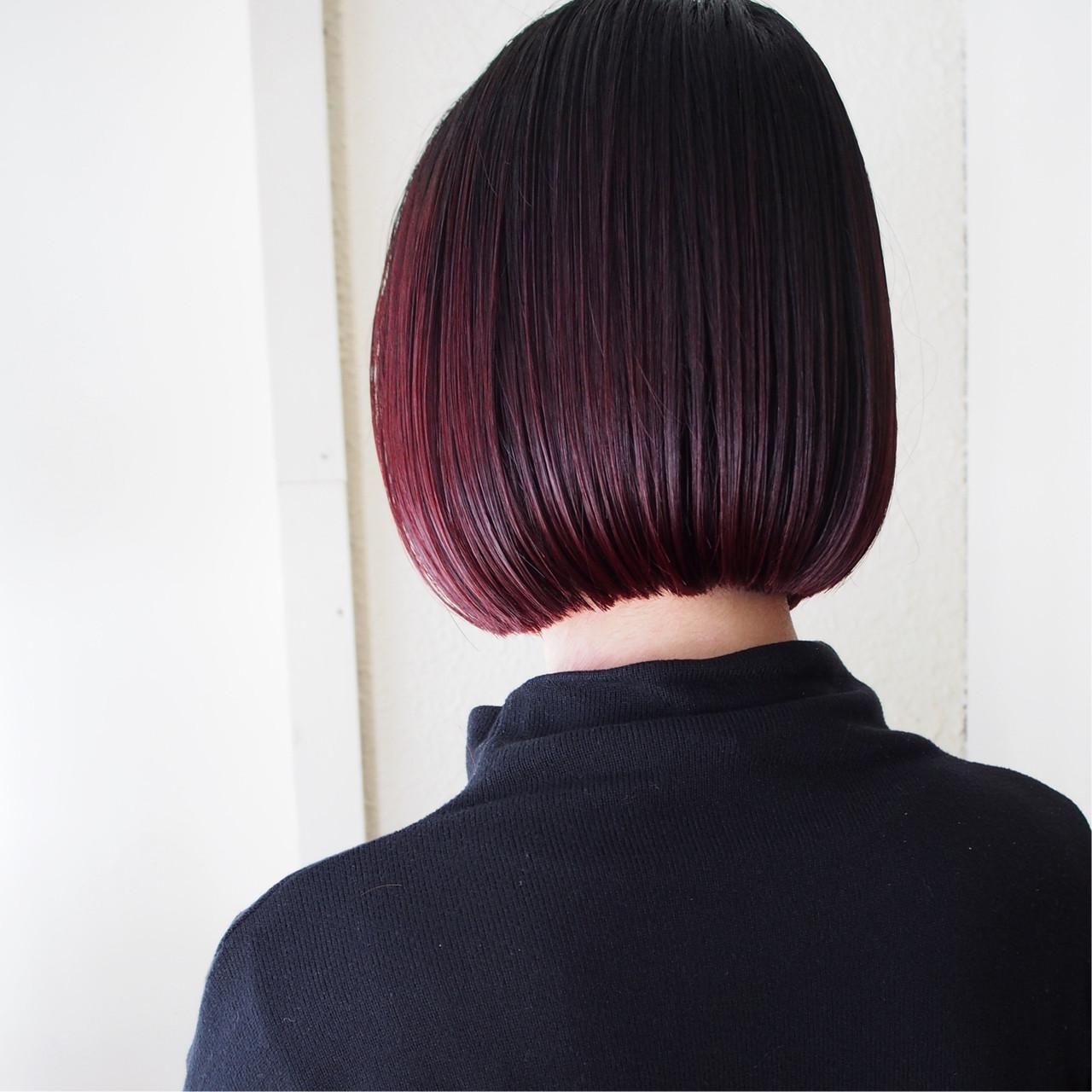 ボブ モード ミニボブ 色持ち ヘアスタイルや髪型の写真・画像