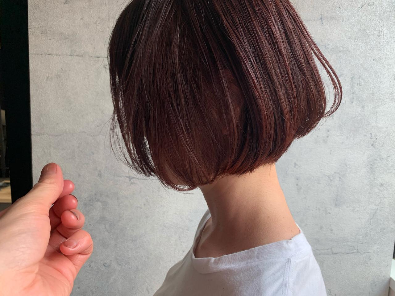 ショートヘア ピンクアッシュ 内巻き ピンク ヘアスタイルや髪型の写真・画像