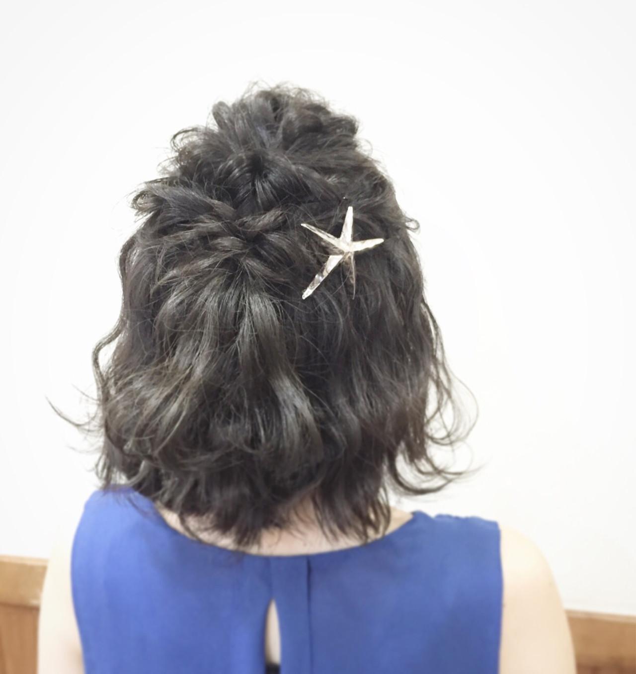 大人かわいい ヘアアレンジ ボブ 夏 ヘアスタイルや髪型の写真・画像[エリア]