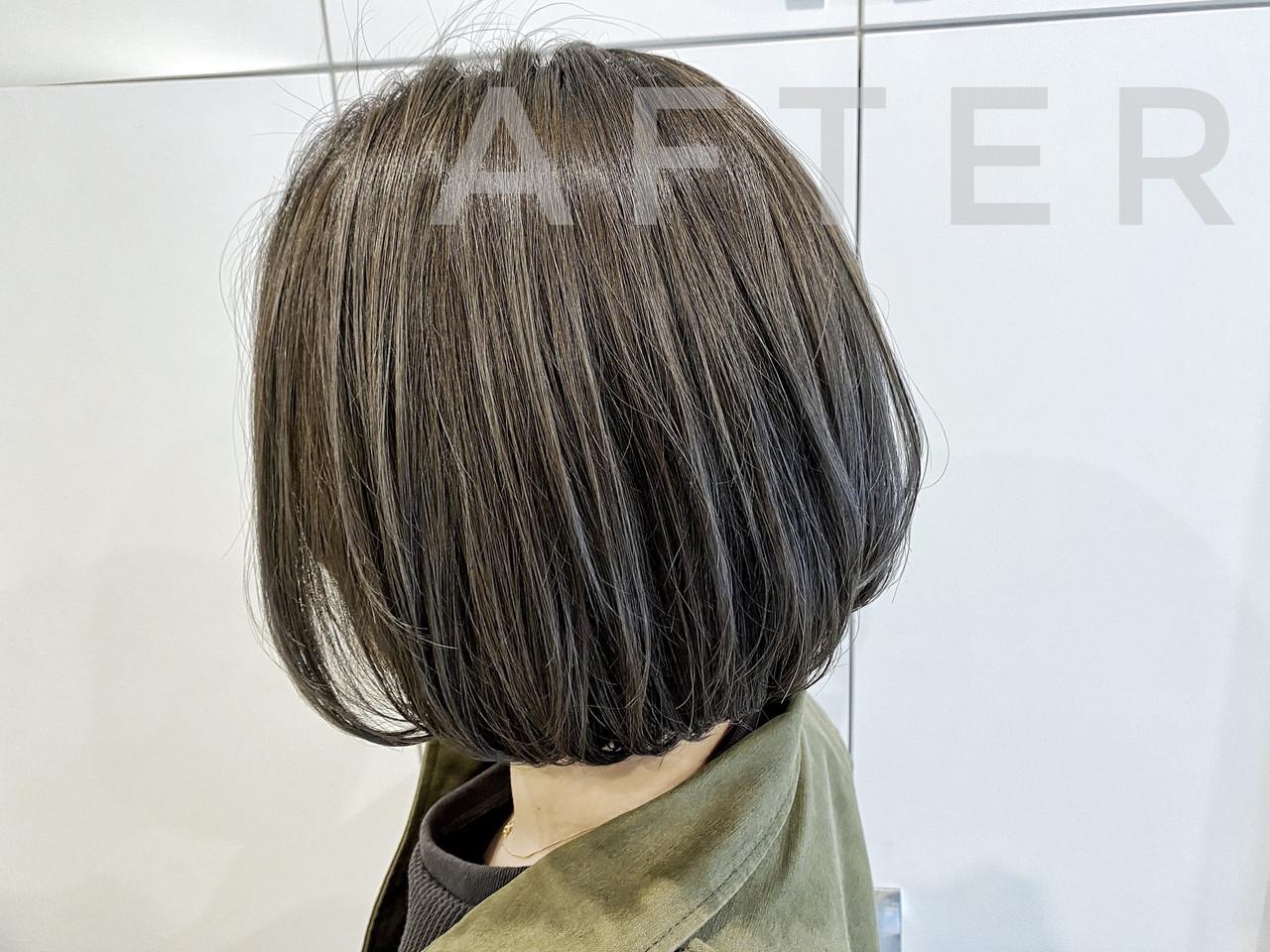 ストリート グレージュ ボブ ハイライト ヘアスタイルや髪型の写真・画像[エリア]