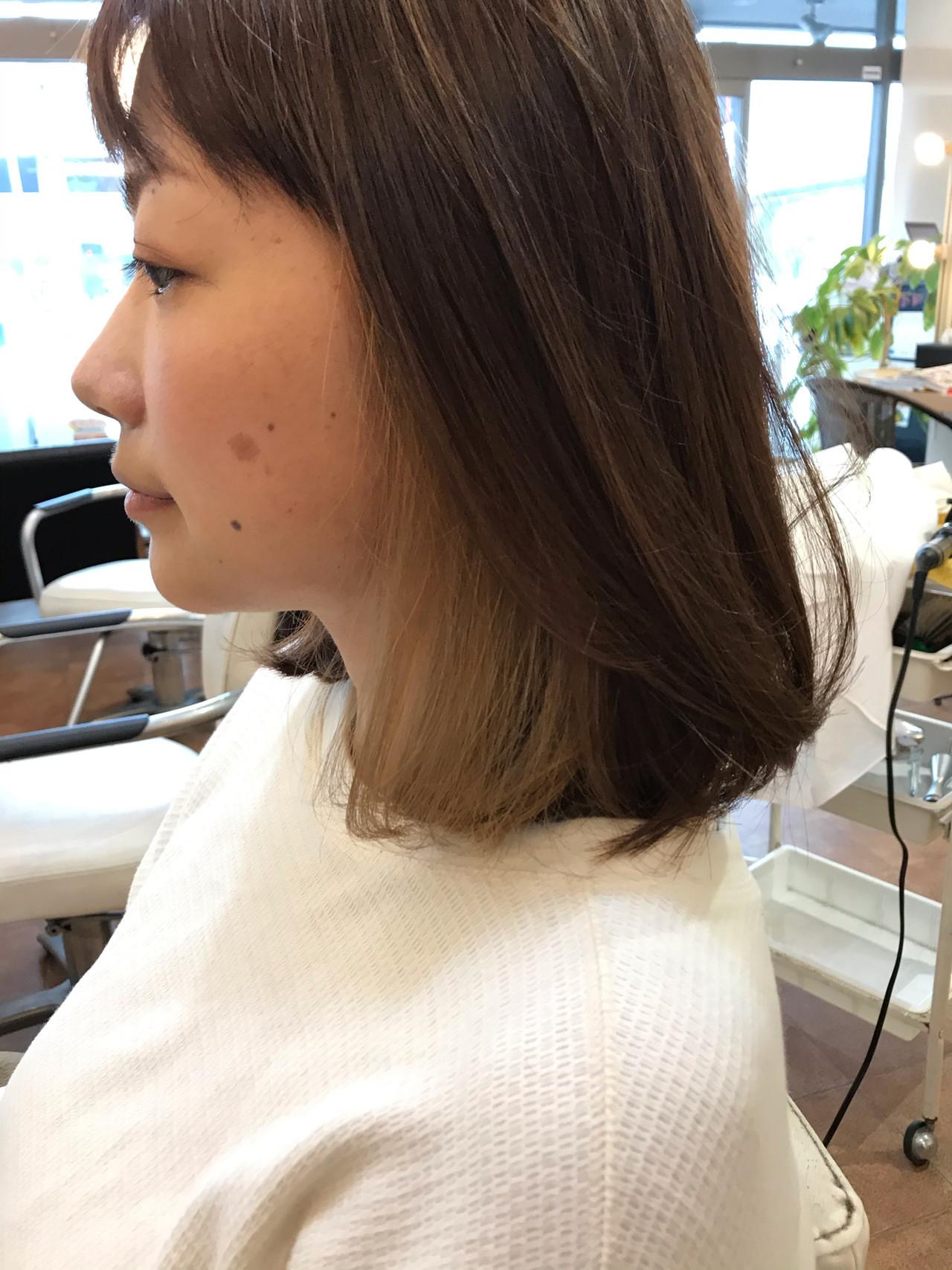 透明感カラー ナチュラル インナーカラー 3Dハイライト ヘアスタイルや髪型の写真・画像[エリア]
