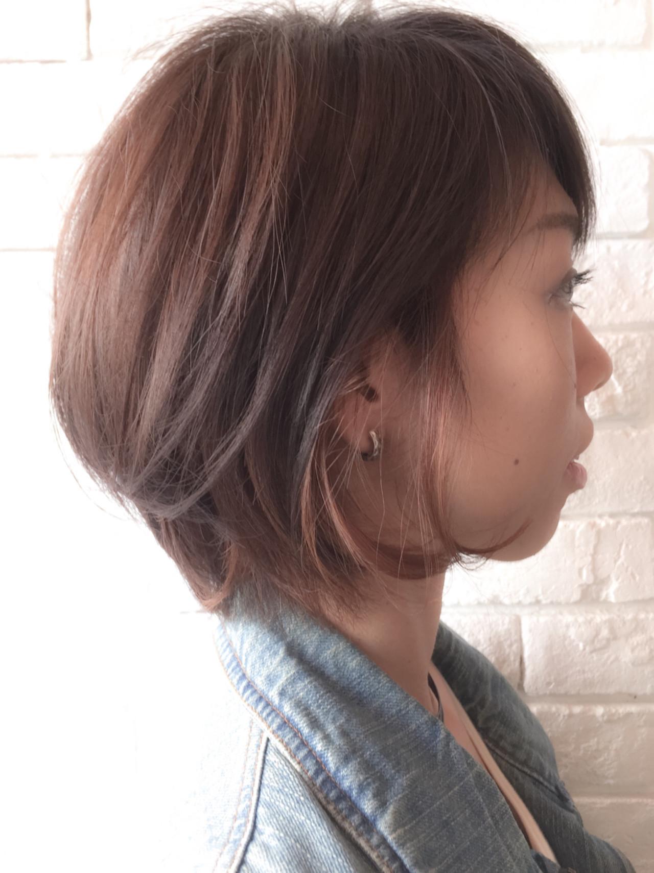 ボブ 色気 冬 インナーカラー ヘアスタイルや髪型の写真・画像