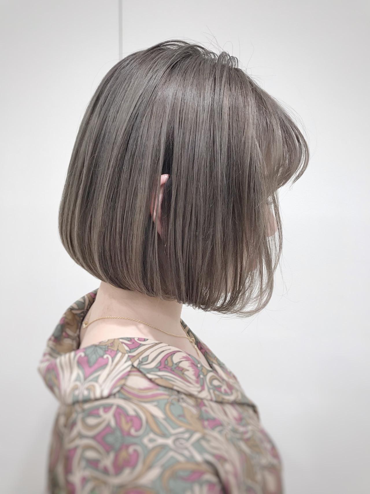 切りっぱなしボブ ナチュラル 前下がりボブ ミニボブ ヘアスタイルや髪型の写真・画像