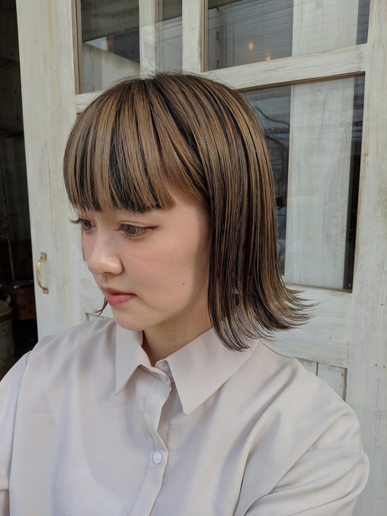 ボブ ベージュ ローライト アッシュベージュ ヘアスタイルや髪型の写真・画像
