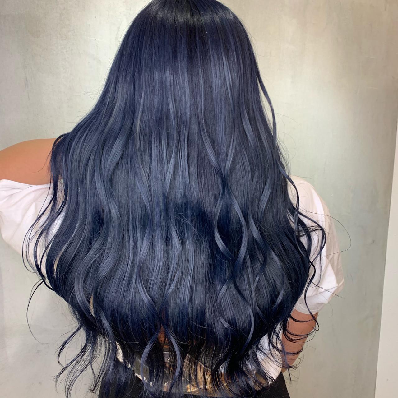 モード ブルージュ ブルー ロング ヘアスタイルや髪型の写真・画像
