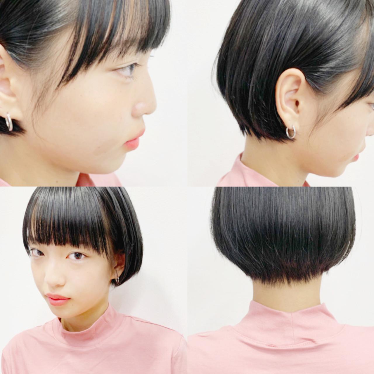 ショートヘア ミニボブ 切りっぱなしボブ ショートボブ ヘアスタイルや髪型の写真・画像