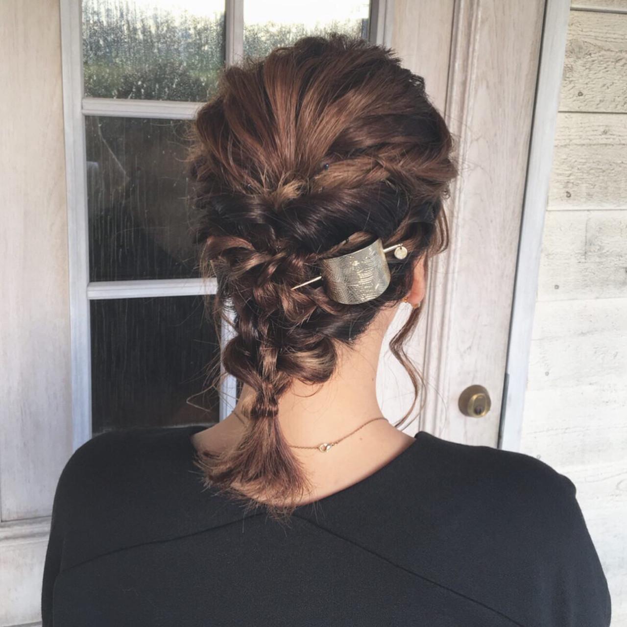 ヘアアレンジ ボブ ローポニー 編みおろし ヘアスタイルや髪型の写真・画像