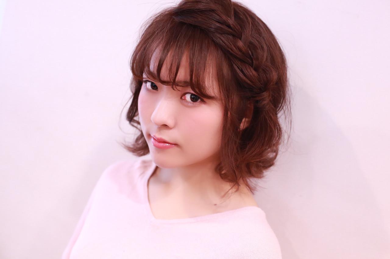 セルフヘアアレンジ 女の子 編み込み 簡単ヘアアレンジ ヘアスタイルや髪型の写真・画像