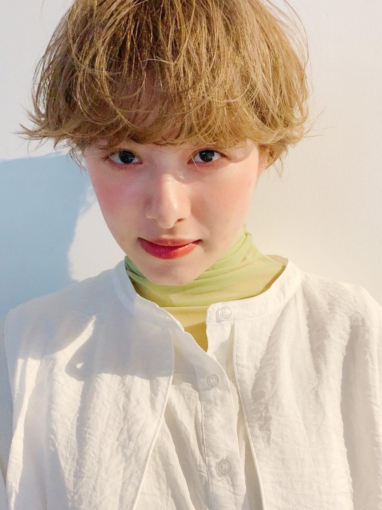 ショートボブ マッシュショート ミルクティーベージュ ショート ヘアスタイルや髪型の写真・画像