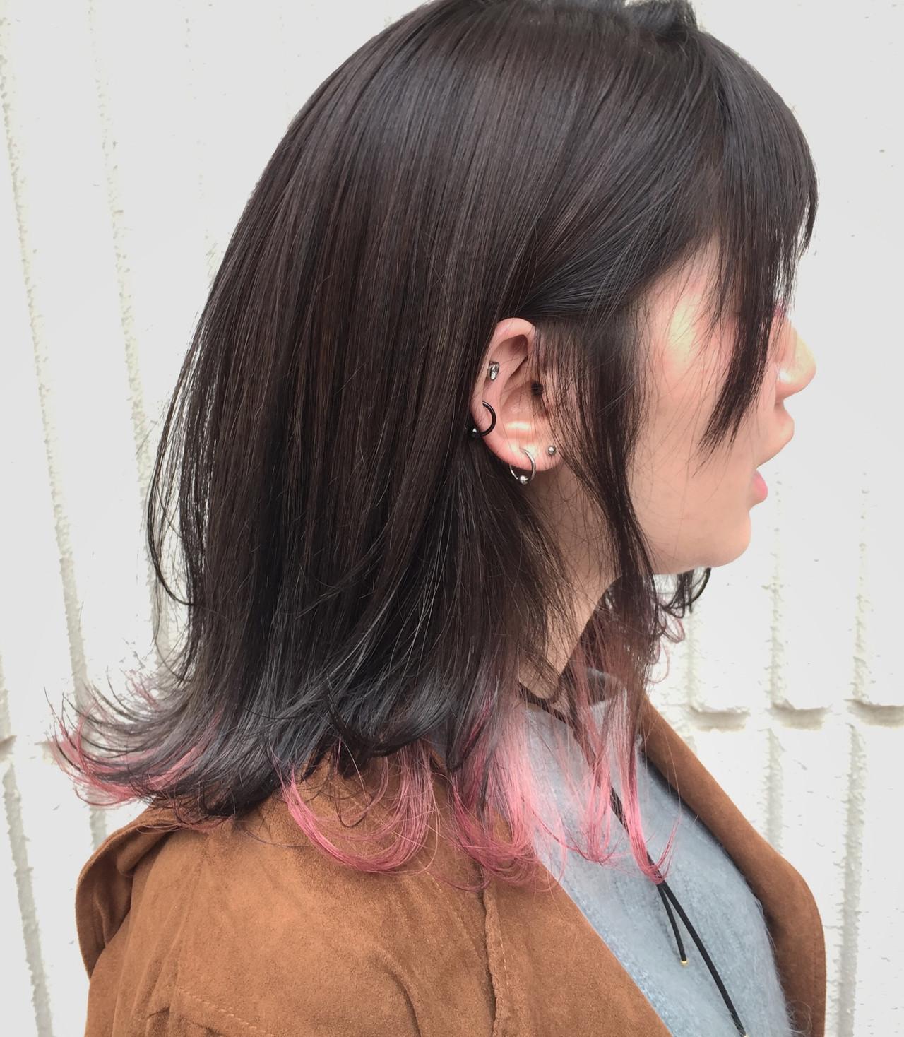 ガーリー 3Dハイライト ミディアム インナーカラー ヘアスタイルや髪型の写真・画像