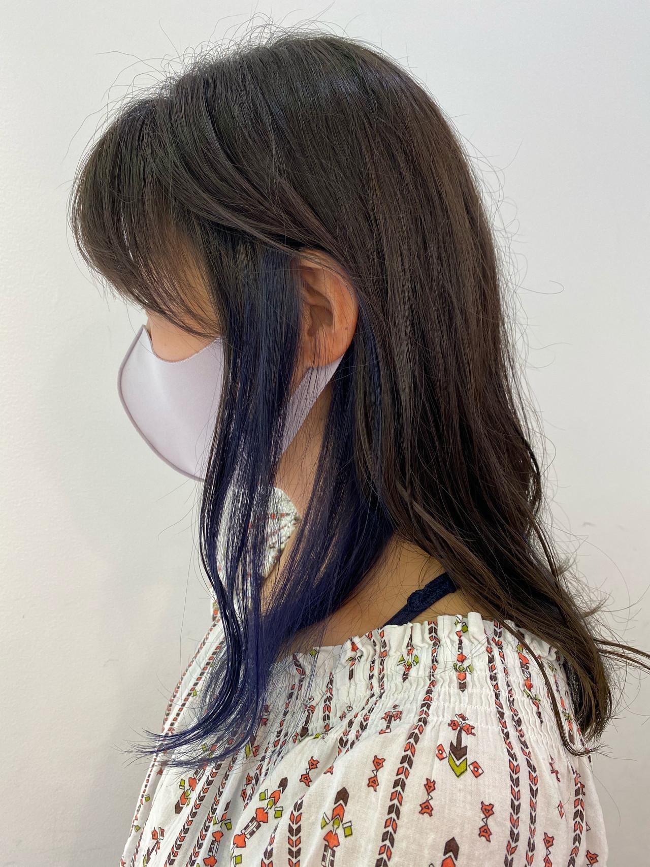 ナチュラル ミルクティーグレージュ インナーカラー ミディアム ヘアスタイルや髪型の写真・画像
