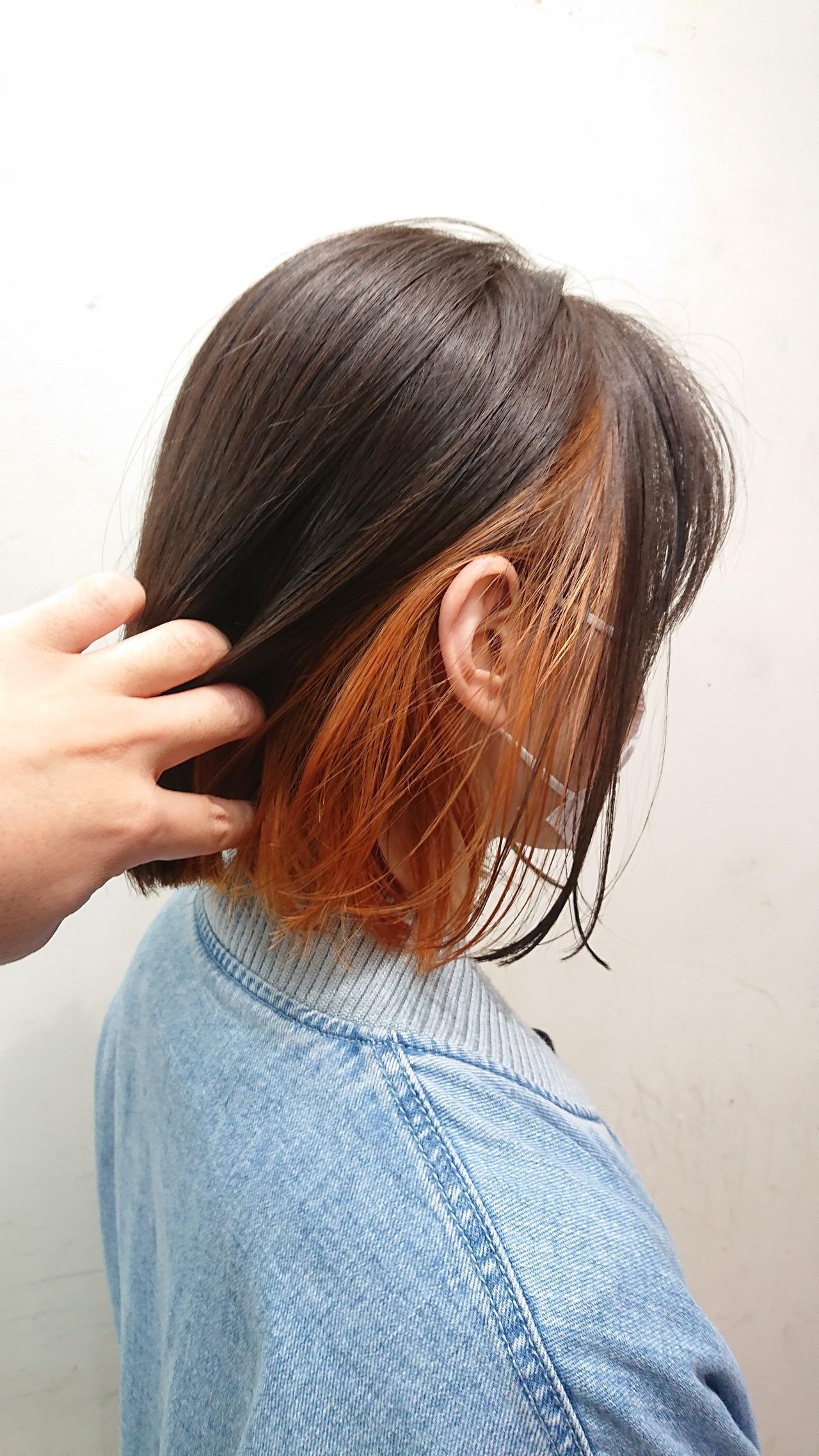 ブリーチオンカラー ボブ インナーカラー ストリート ヘアスタイルや髪型の写真・画像