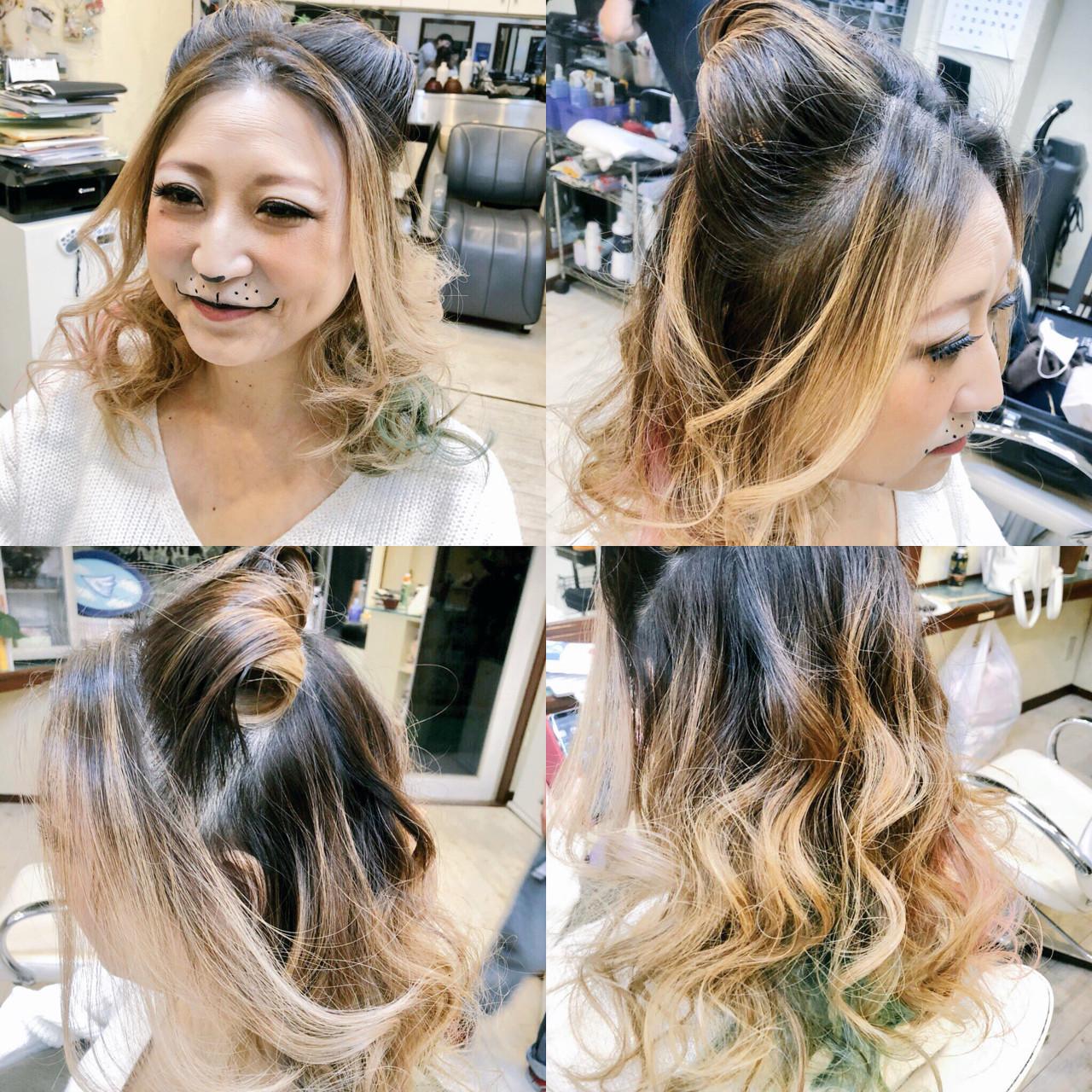 インナーカラー ハーフアップ 秋 猫耳 ヘアスタイルや髪型の写真・画像