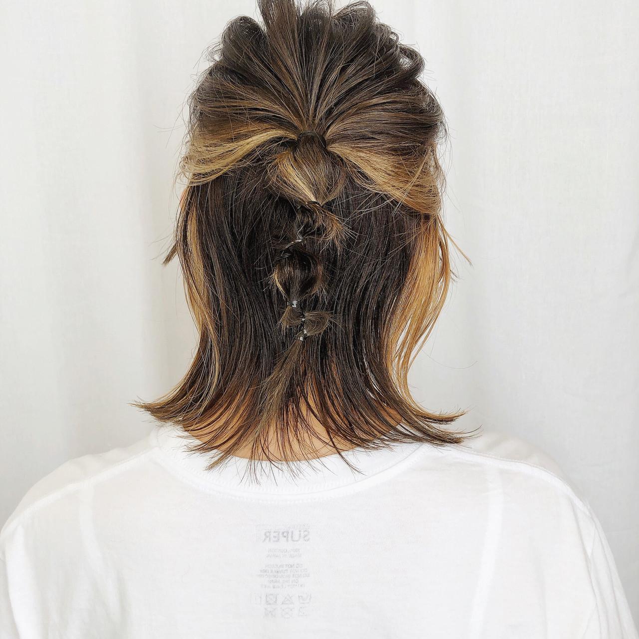 ナチュラル 簡単ヘアアレンジ ウルフカット インナーカラー ヘアスタイルや髪型の写真・画像
