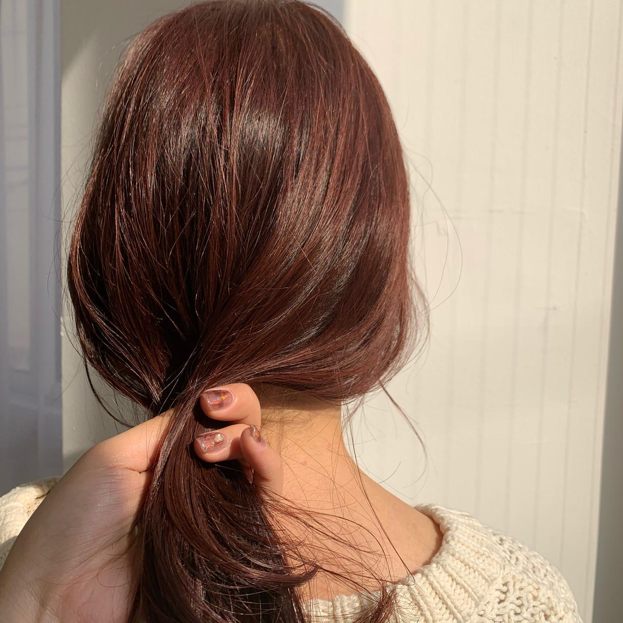 セミロング アプリコットオレンジ ゆるふわ オレンジ ヘアスタイルや髪型の写真・画像