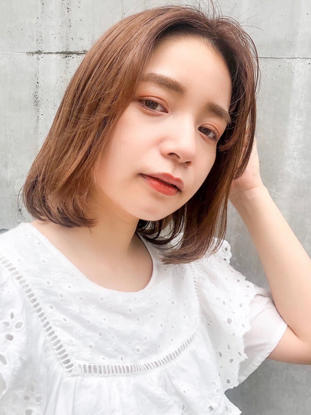 デジタルパーマ ミニボブ フェミニン ハイライト ヘアスタイルや髪型の写真・画像