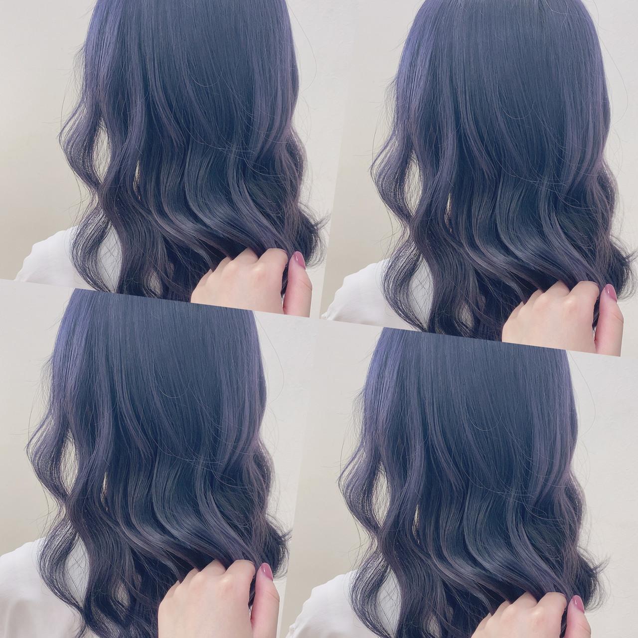 パープル パープルアッシュ バイオレットアッシュ 韓国風ヘアー ヘアスタイルや髪型の写真・画像