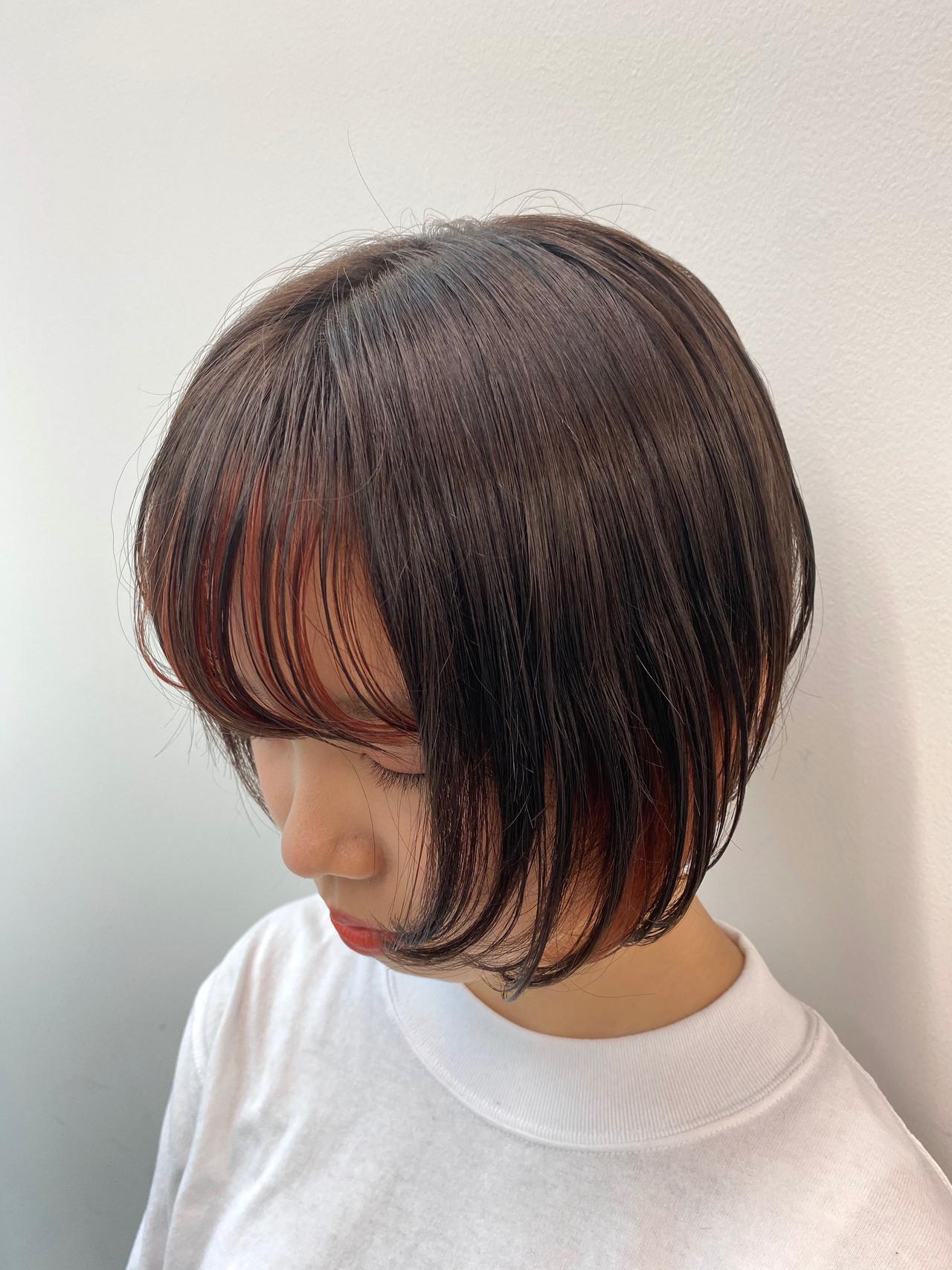 アプリコットオレンジ オレンジカラー ショートボブ オレンジ ヘアスタイルや髪型の写真・画像