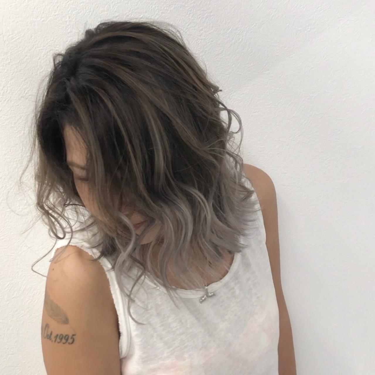 外国人風カラー 外国人風 ミディアム ストリート ヘアスタイルや髪型の写真・画像