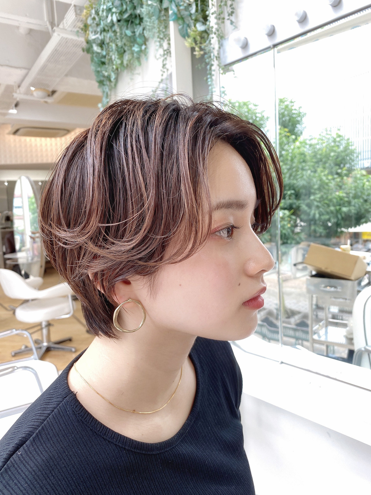 ショートボブ 透明感カラー ナチュラル ハンサムショート ヘアスタイルや髪型の写真・画像