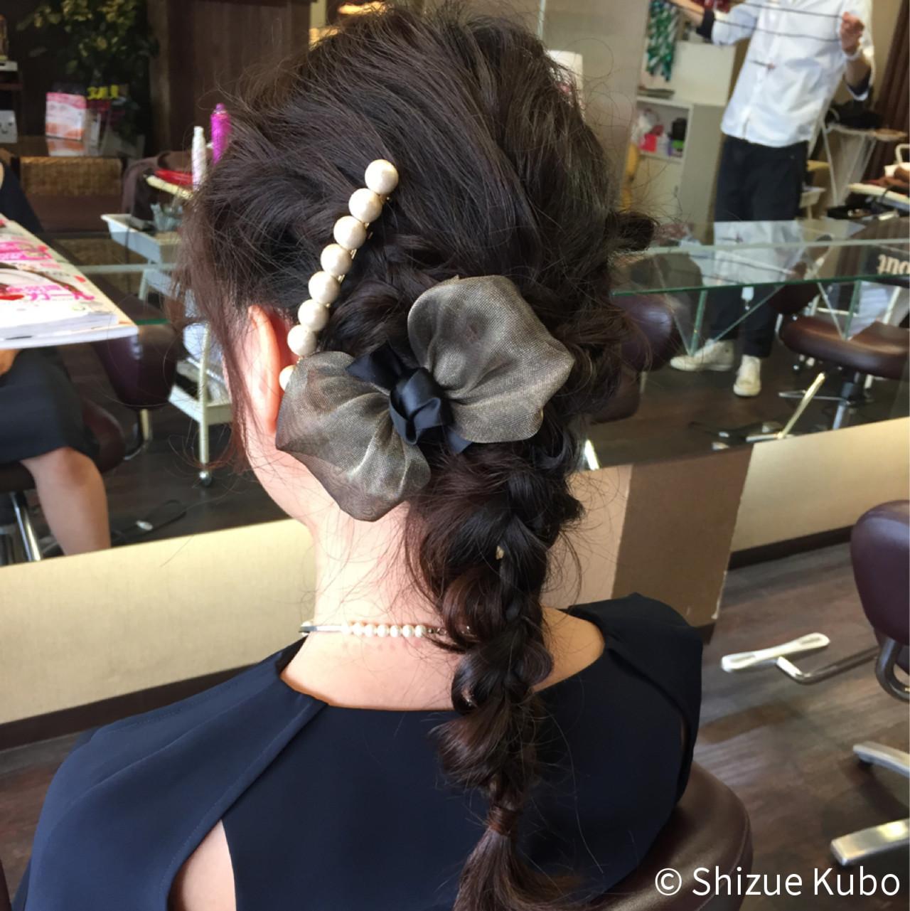 くるりんぱ セミロング 四つ編み ヘアアレンジ ヘアスタイルや髪型の写真・画像
