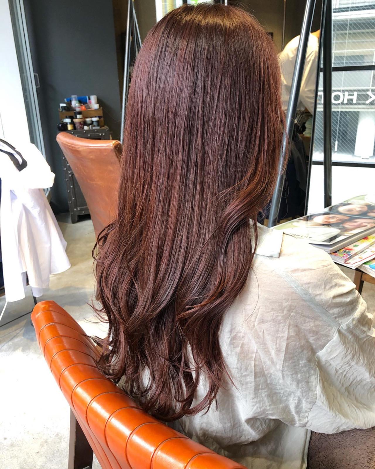 チェリーレッド ガーリー 韓国ヘア レッドカラー ヘアスタイルや髪型の写真・画像