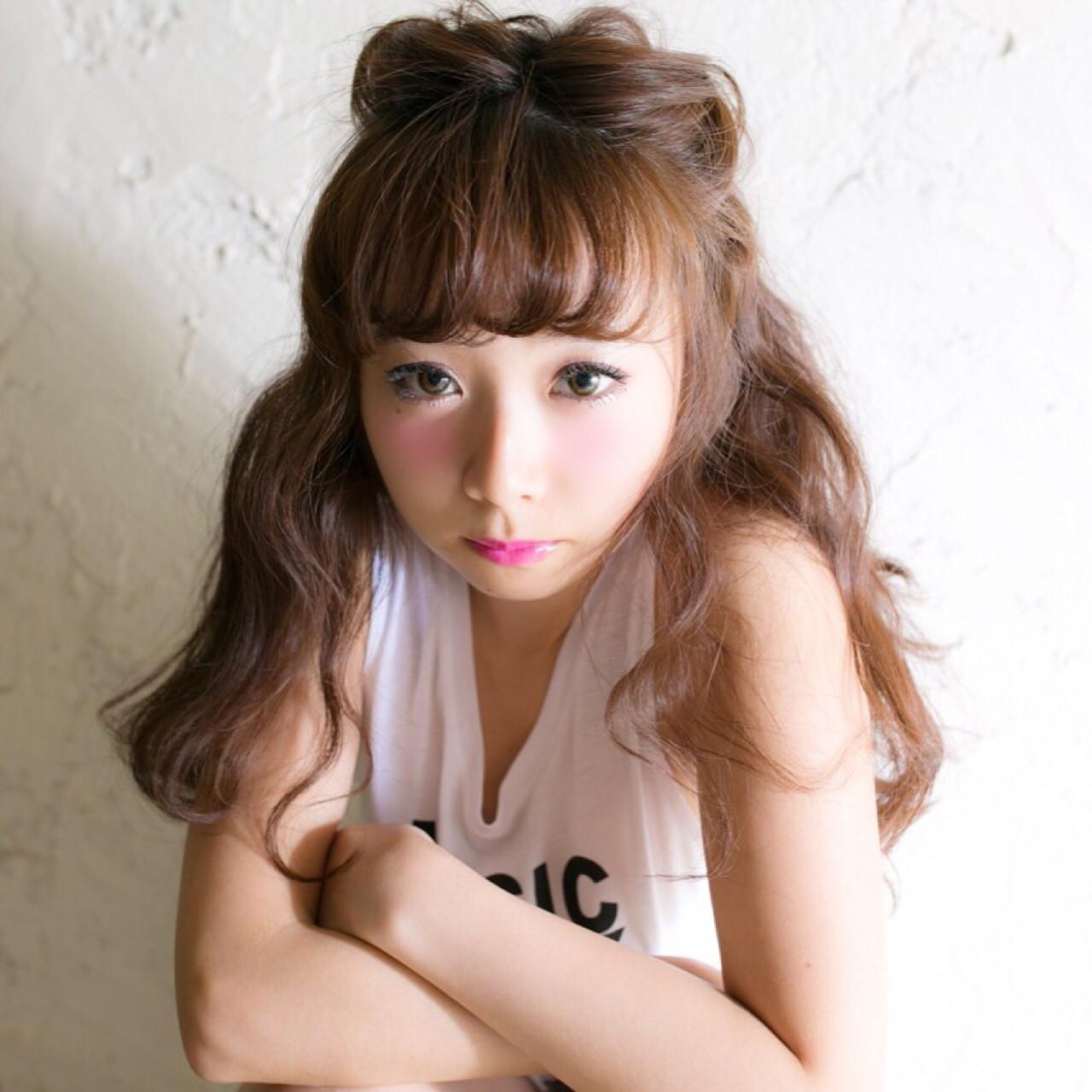 ハーフアップ セミロング 簡単ヘアアレンジ ヘアアレンジ ヘアスタイルや髪型の写真・画像