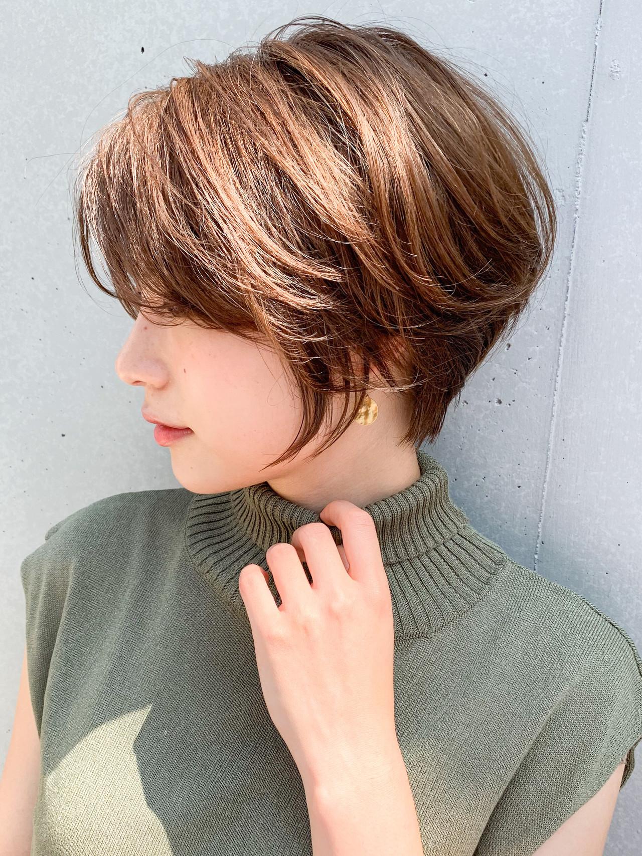 ショートヘア ナチュラル ハンサムショート ショート ヘアスタイルや髪型の写真・画像