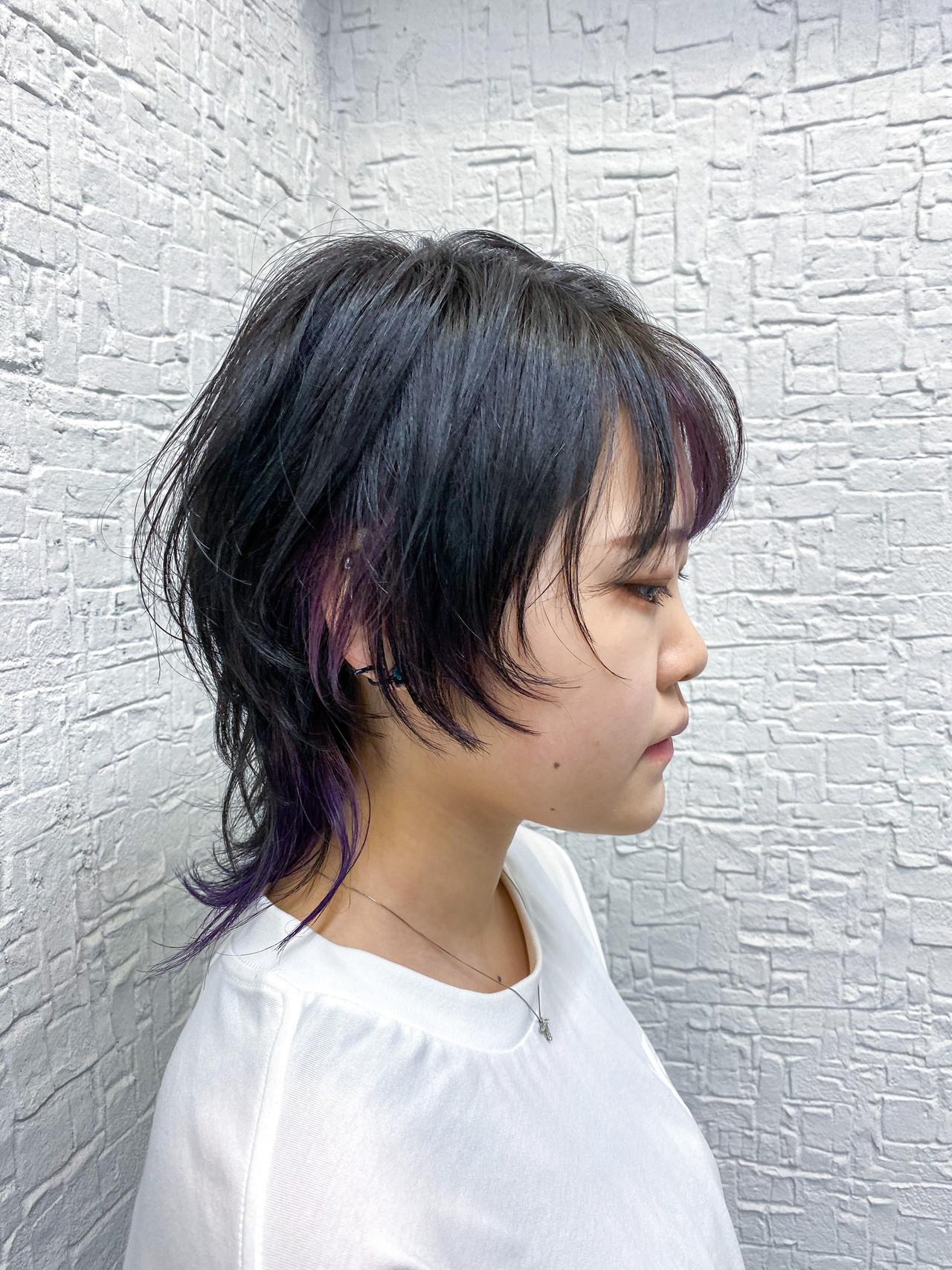 ミディアム マッシュウルフ ウルフ女子 ネオウルフ ヘアスタイルや髪型の写真・画像