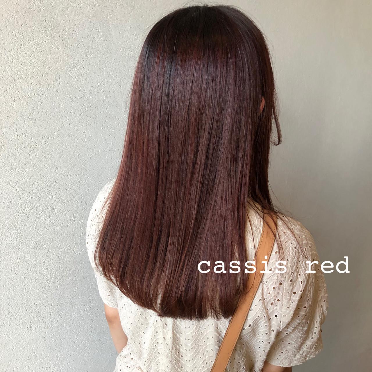 グラデーションカラー ロング ローライト カシスレッド ヘアスタイルや髪型の写真・画像