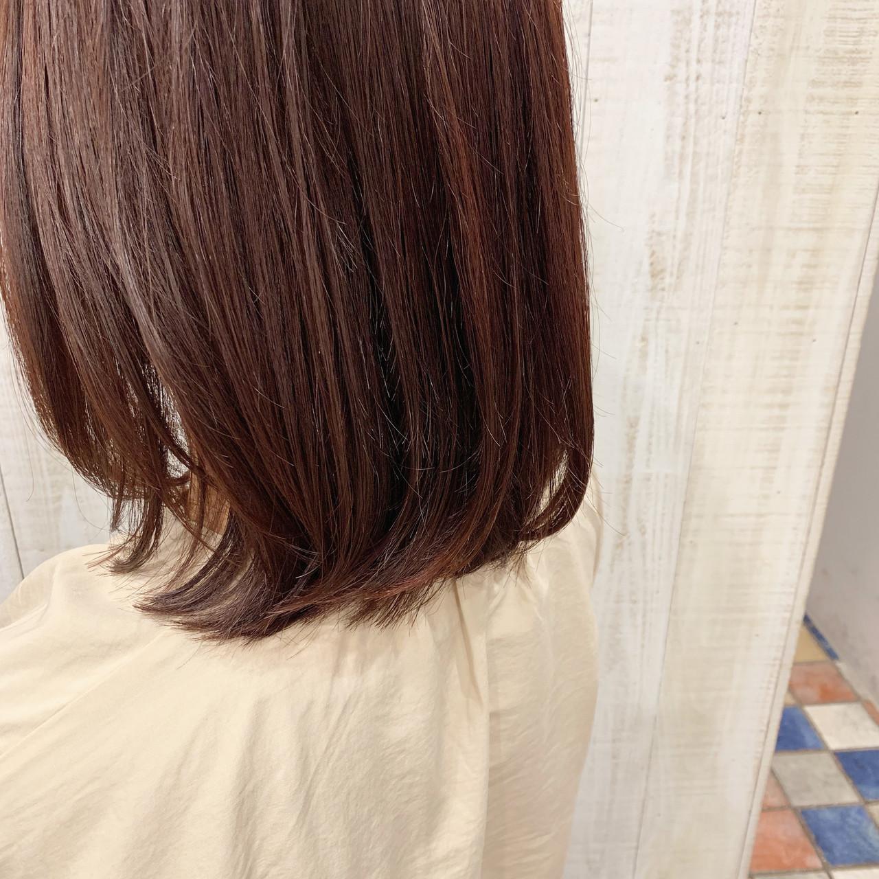 ガーリー チェリーレッド レッドブラウン ボブ ヘアスタイルや髪型の写真・画像