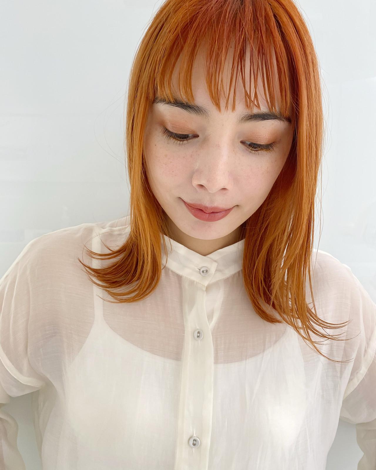 ストリート オレンジカラー オレンジベージュ アプリコットオレンジ ヘアスタイルや髪型の写真・画像