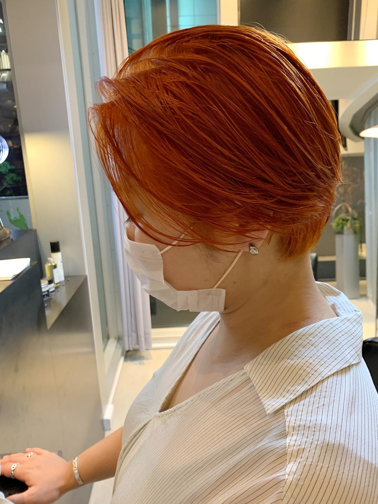 ショートボブ ショート ブラットオレンジ モード ヘアスタイルや髪型の写真・画像